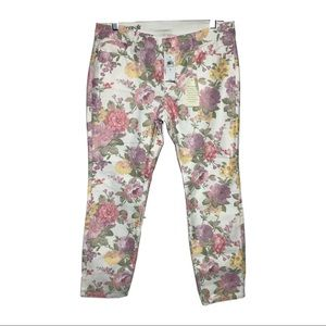 Ann Taylor Floral Cropped Jeans Size 8